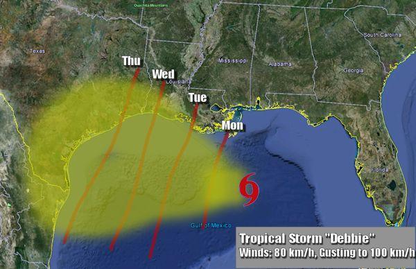 Forecast track of Debbie